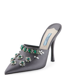 Jeweled Satin 110mm Mule Pump, Slate (Ardesia)