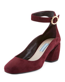 Suede Ankle-Wrap 55mm Pump, Garnet (Granato)