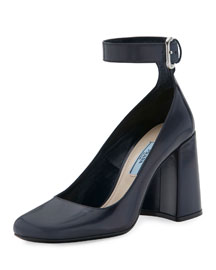 Leather Ankle-Wrap 85mm Pump, Baltic