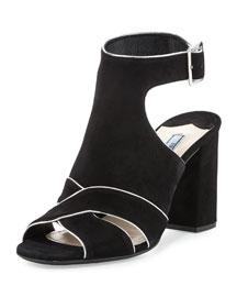 Suede Cutout Ankle-Wrap Sandal