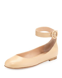 Leather Ankle-Strap Ballerina Flat