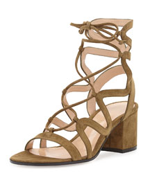 Lace-Up Block-Heel 60mm Suede Gladiator Sandal