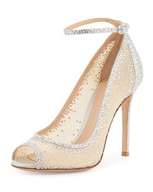 Degrade Crystal Peep-Toe Ankle-Strap Pump, Silver/Clear