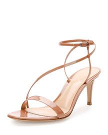Asymmetric Patent 70mm Sandal, Praline