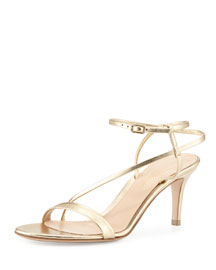Asymmetric Strappy Leather Sandal, Gold
