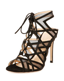 Suede & Mesh Strappy Lace-Up Sandal