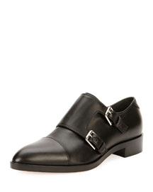 Leather Monk-Strap Loafer, Black
