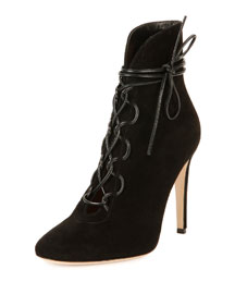 Suede Lace-Up Ankle Bootie