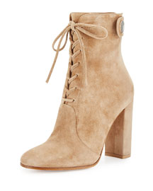 Suede Lace-Up Ankle Boot, Black