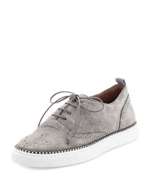 Tate Suede Brogue Low-Top Sneaker