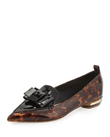 Beya Bow Patent-Leather Loafer, Tortoise Shell/Black