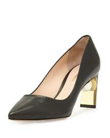 Maeva Leather Pearly-Heel Pump, Black