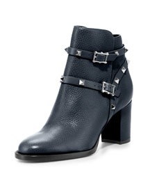 Rockstud Pebbled Leather Ankle Boot