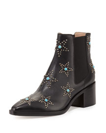 Studded Turquoise Leather Chelsea Boot, Black