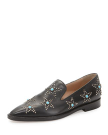 Star-Studded Leather Smoking Slipper, Black (Nero)