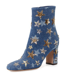Star-Studded Denim Ankle Boot