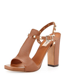 Pebbled Leather Rockstud T-Strap Sandal, Tobacco