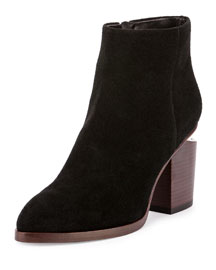 Gabi Suede Lift-Heel Ankle Boot, Black