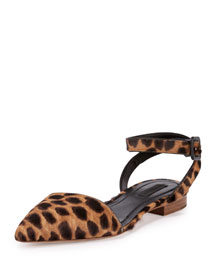 Lara Calf-Hair Ankle-Wrap d'Orsay Flat, Black/Natural Leopard