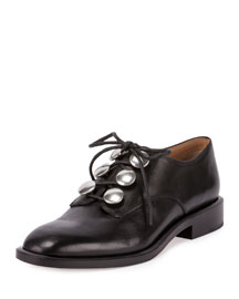 Matilda Lace-Up Leather Oxford, Black