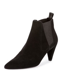 Vanessa Suede Ankle Boot, Black