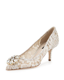 Jewel-Embellished Lace Pump, Ghiaccio