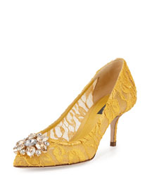 Jewel-Embellished Lace Pump, Senape