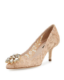 Jewel-Embellished Lace Pump, Albicocca