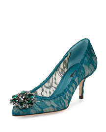 Jewel-Embellished Lace Pump, Pertolio