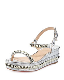 Cataclou Metallic Studded Red Sole Sandal, Silver