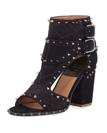 Deric Quilted Spike-Trim Sandal/Bootie