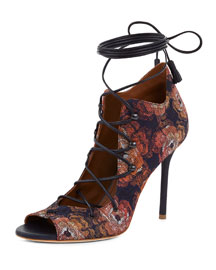 Savannah Jacquard Lace-Up Ankle-Wrap Pump, Navy/Multi