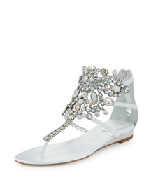 Crystal-Chandelier Thong Sandal, White