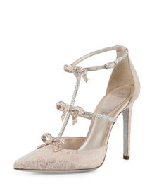 Crystal Bow-Embellished T-Strap Pump, White
