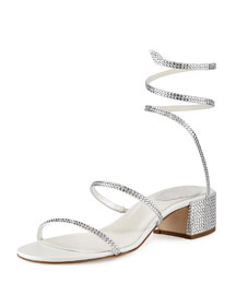Crystal Snake 40mm Sandal, White