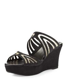 Crystal-Embellished Two-Band Wedge Slide Sandal, Black/Jet