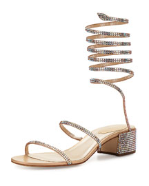 Crystal Coil Block-Heel Sandal, Nude Satin/Topaz