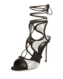 Crystal-Embellished Suede Ankle-Wrap Sandal, Black/Chrome