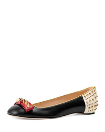 Lexi Studded Leather Ballerina Flat