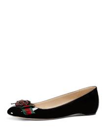 Lexi Patent Ballerina Flat, Black/Multi