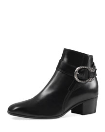 Dionysus Leather Ankle Boot, Black (Nero)