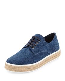 Flat Denim Espadrille Sneaker, Blue (Bleu)