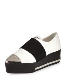 Metallic Cap-Toe Leather Sneaker, White (Bianco)