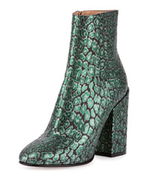 Printed Leather 100mm Boot, Green