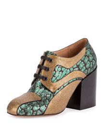 Lace-Up Block-Heel Oxford Pump, Green