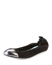 Metallic Cap-Toe Suede Ballerina Flat, Black/Silver