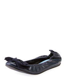 Flat Leather Bow Ballerina Flat, Midnight Blue