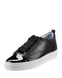 Patent Leather Cap-Toe Low-Top Sneaker, Black