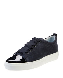 Cap-Toe Suede Low-Top Sneaker, Dark Blue