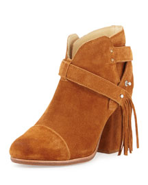 Harrow Suede Tassel Ankle Boot, Tan